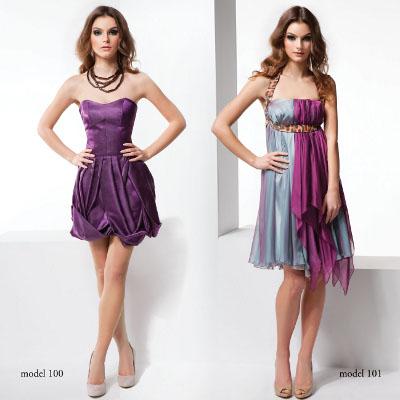 Kolekcja Mona: dwie sukienki: filotetowa i niebieska