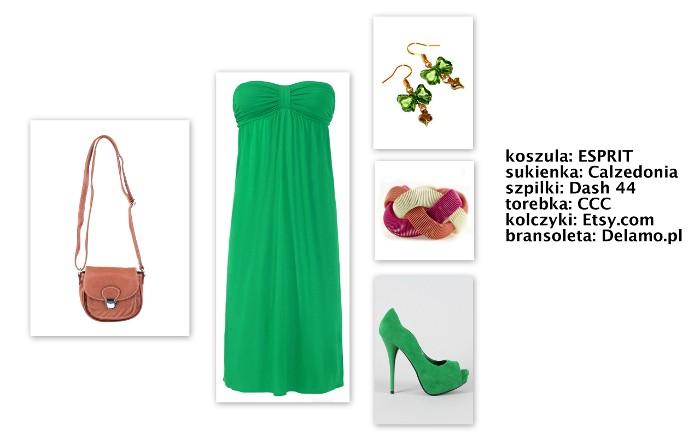 stylizacje kolor zielony na lato