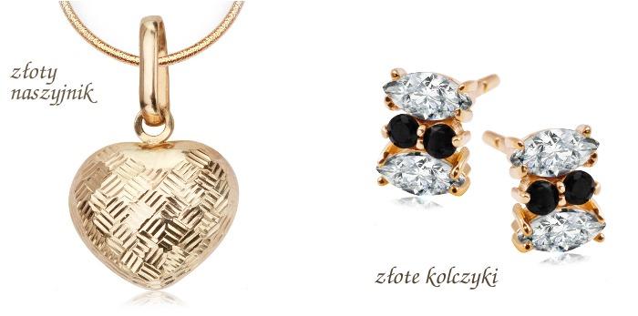 Wyprzedaż biżuterii YES - złoty naszyjnik i złote kolczyki